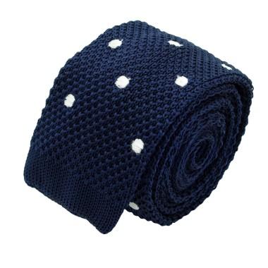 Cravate Tricot Homme. Bleu Marine à gros pois blancs
