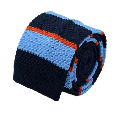 Cravate Tricot Homme. Bleu à rayures bleue et orange