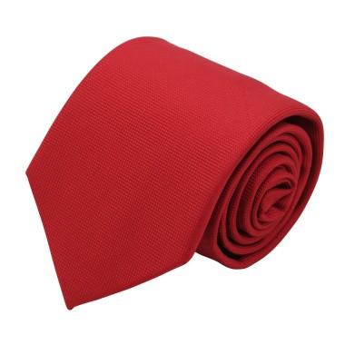 Cravate Classique Homme. Très fin quadrillage Rouge vif