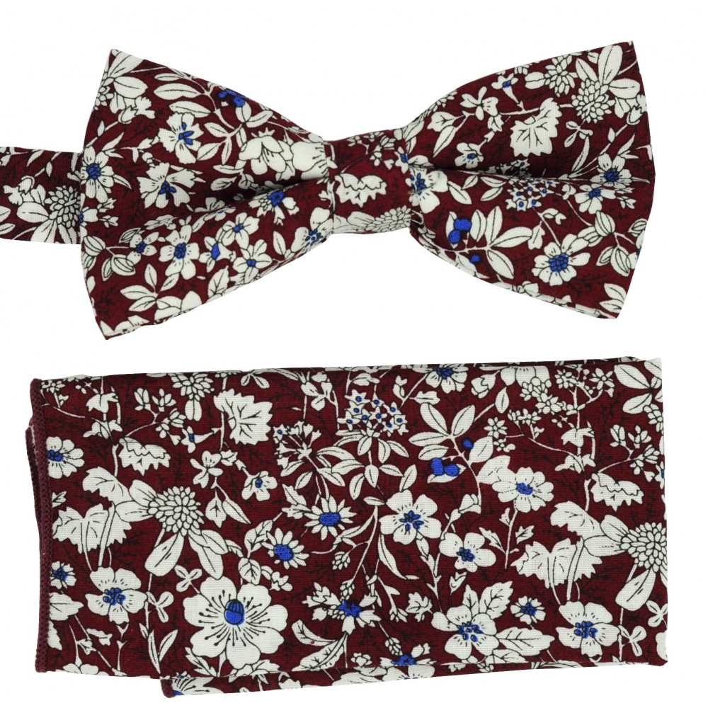 Ensemble Nœud papillon et Pochette assortie. Style 'Liberty', bordeaux.