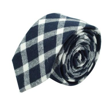 Cravate homme Coton-Lin à carreaux. Bleu marine