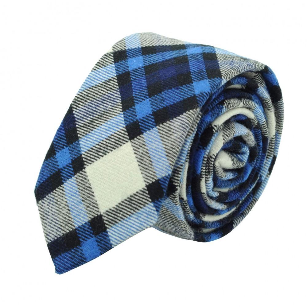 Cravate homme Coton-Lin à carreaux. Bleu et blanc