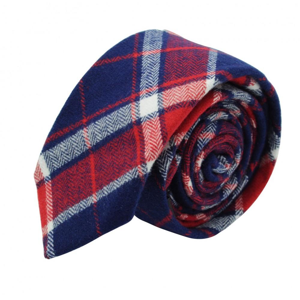 Cravate homme Coton-Lin à carreaux. Rouge et bleu