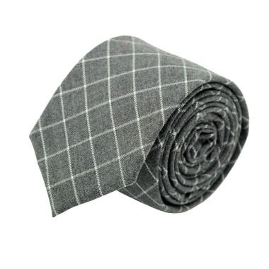 Cravate homme Coton-Lin à carreaux. Gris
