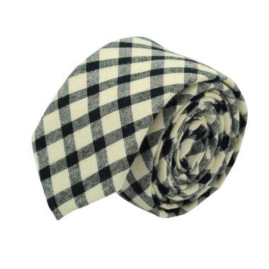 Cravate homme Coton-Lin à carreaux. Beige et noir