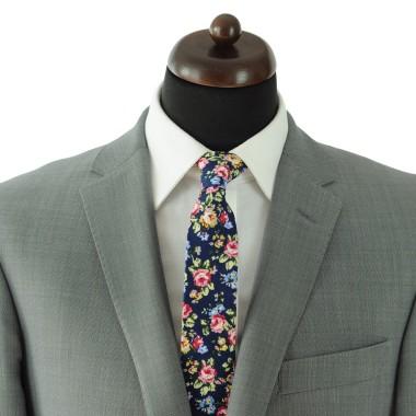 Cravate Liberty homme Coton-Lin. Bleu marine à fleurs