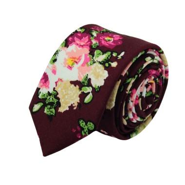 Cravate Liberty homme Coton-Lin. Bordeaux à fleurs