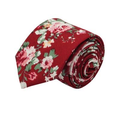 Cravate Liberty homme Coton-Lin. Rouge à fleurs