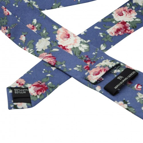 Cravate Liberty homme Coton-Lin. Bleu jean à fleurs