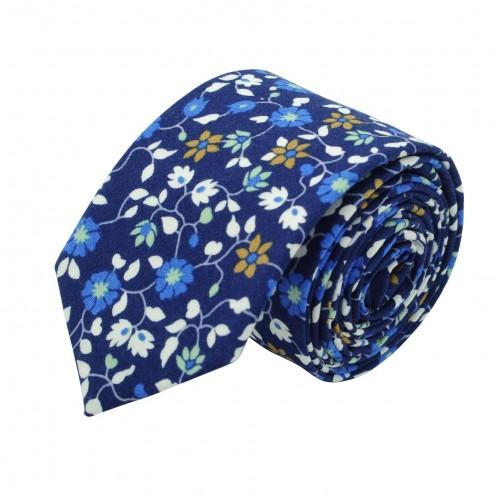 Cravate Liberty homme Coton-Lin. Bleu roi à fleurs