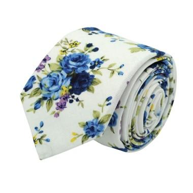 Cravate Liberty homme Coton-Lin. Blanc à fleurs