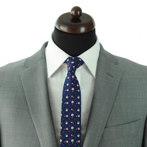 Cravate Liberty homme Coton-Lin. Bleu marine à petites fleurs