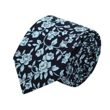 Cravate Liberty homme Coton-Lin. Noir à fleurs