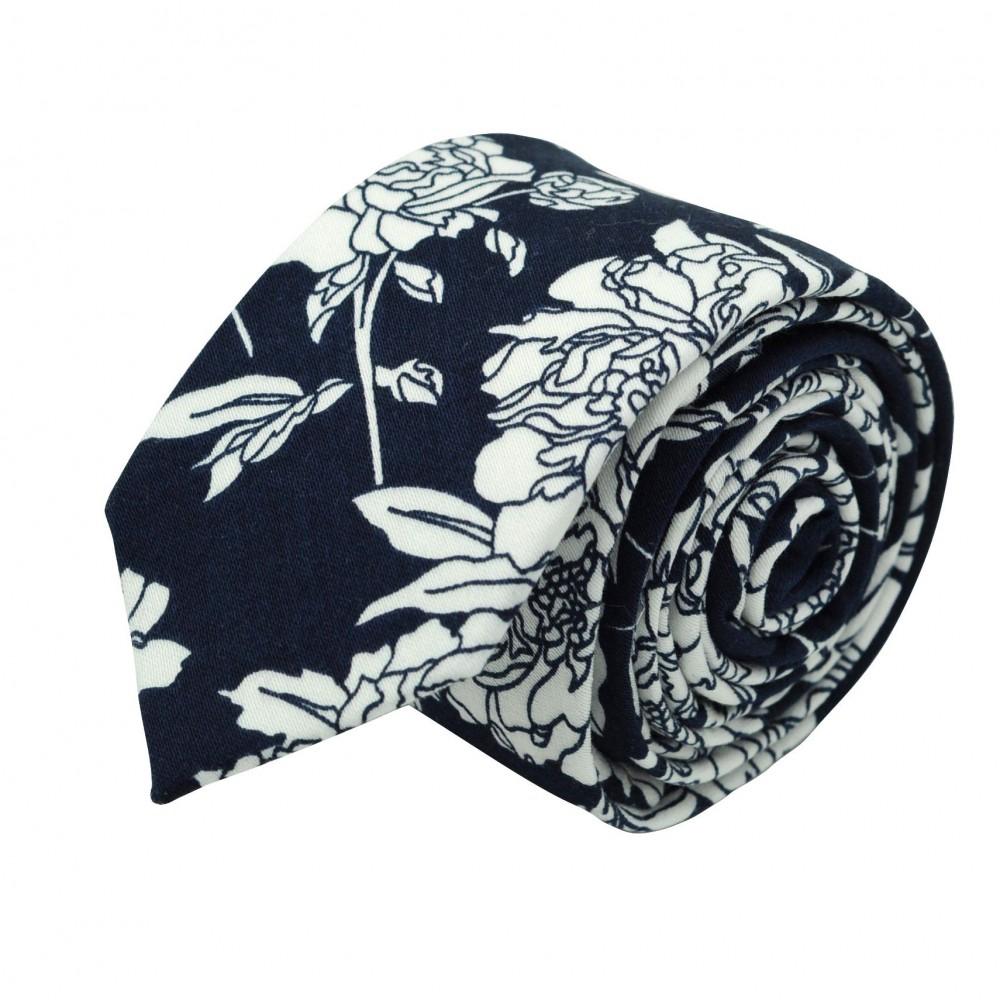 Cravate Liberty homme Coton-Lin. Bleu marine à grandes fleurs