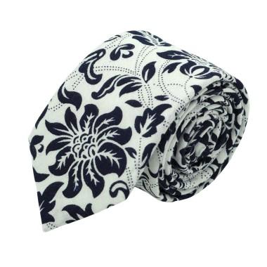 Cravate Liberty homme Coton-Lin. Blanc à grandes fleurs