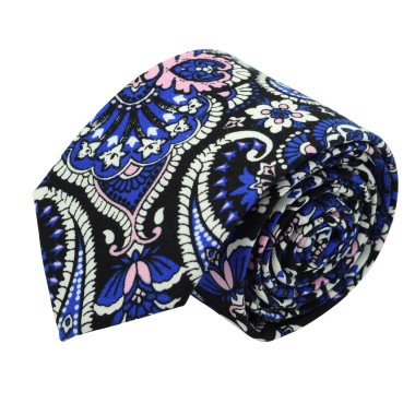 Cravate Liberty homme Coton-Lin. Paisley Rose et bleu