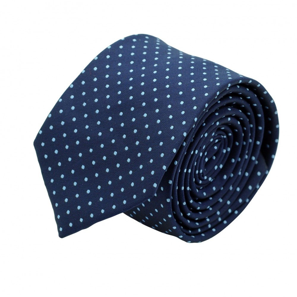 Cravate slim pour homme Bleu à fins pois ciel