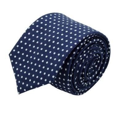 Cravate slim pour homme Bleu à fins pois blanc