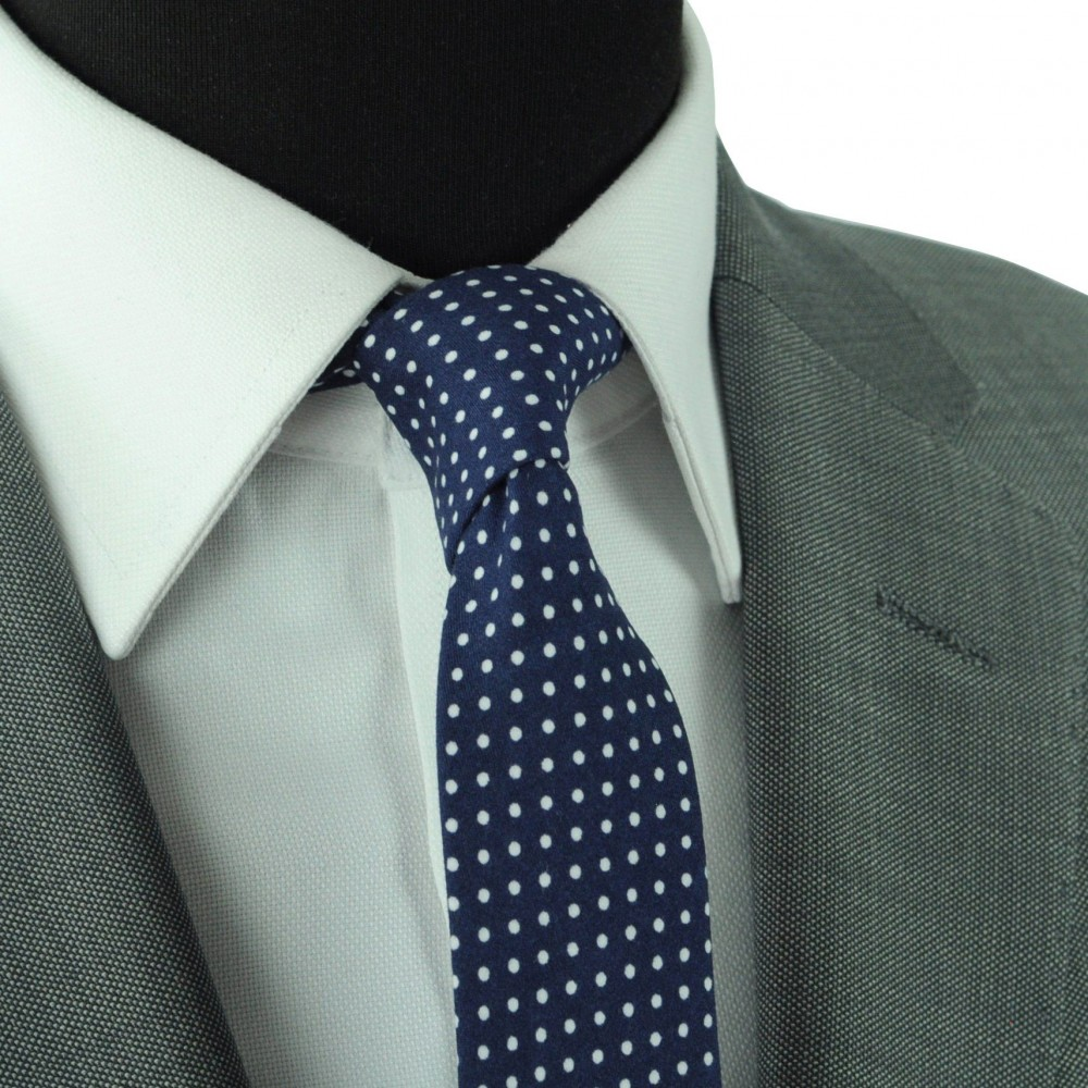 mode la plus désirable correspondant en couleur rabais de premier ordre Cravate slim pour homme Bleu à fins pois blanc (1477)
