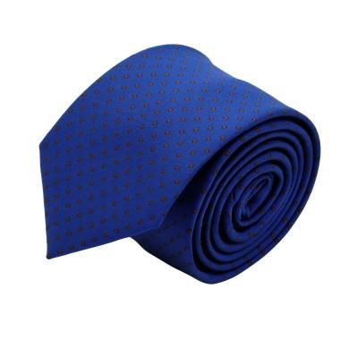 Cravate slim pour homme Bleu à fins pois marron