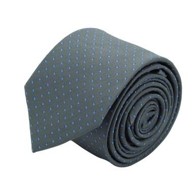 Cravate slim pour homme Gris à fins pois bleu