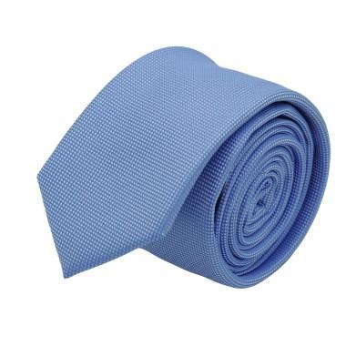 Cravate slim homme Bleu ciel à très fin quadrillage