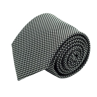 Cravate classique homme Noir et blanc à petits carreaux