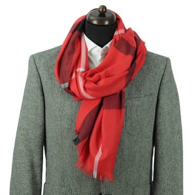 Echarpe à carreaux style Tartan. Rouge