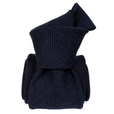 Cravate de Luxe en mélange Laine/Soie. Bleu marine uni