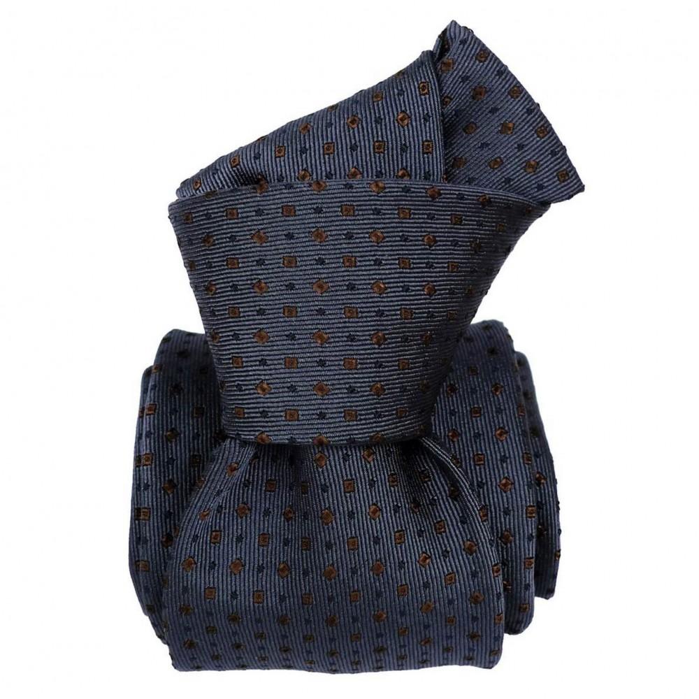 Cravate de Luxe 6-Plis. Bleu-gris à petits motifs
