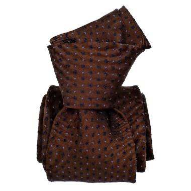Cravate de Luxe 6-Plis. Marron à petits motifs