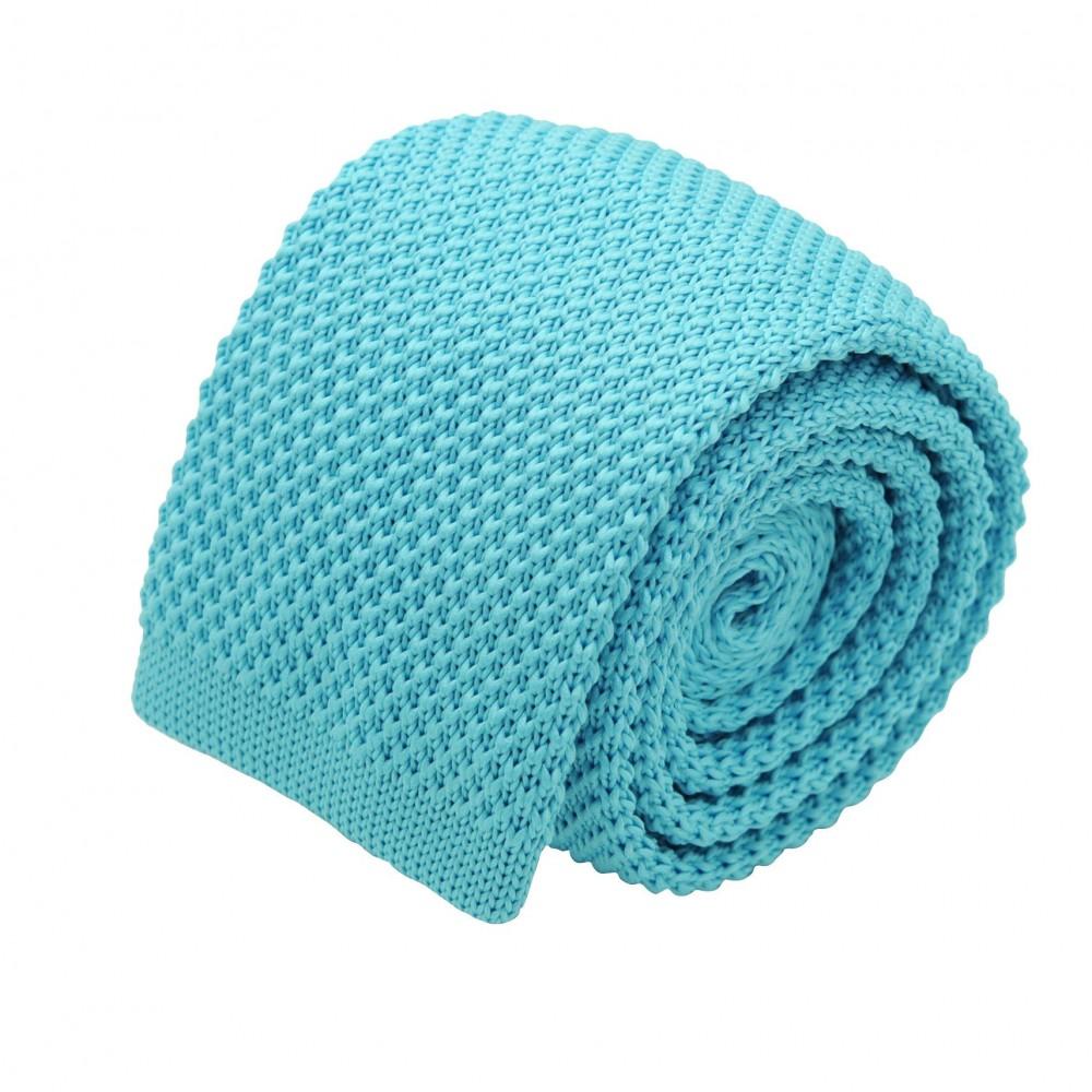 Cravate tricot homme. Bleu Turquoise uni