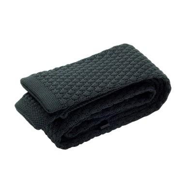 Cravate tricot homme. Noir grosse maille uni