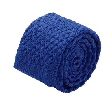 Cravate tricot homme. Bleu roi grosse maille uni