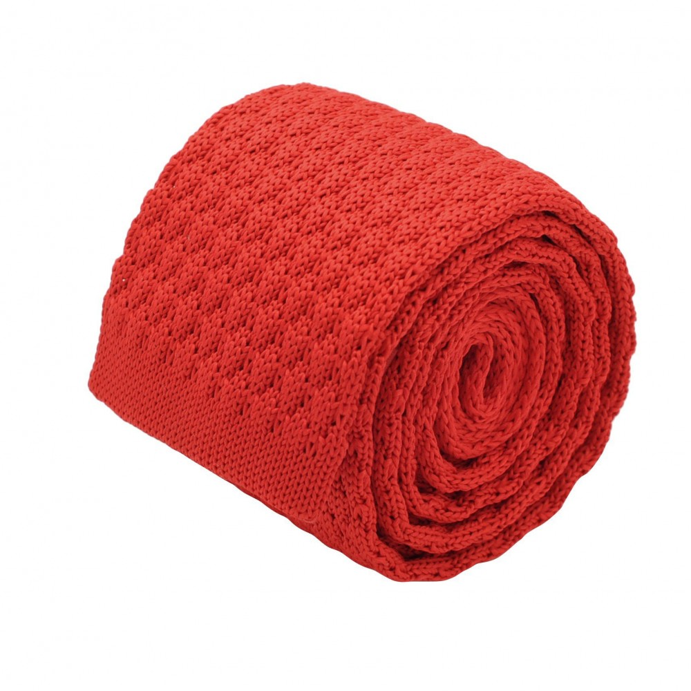 Cravate tricot homme. Rouge grosse maille uni