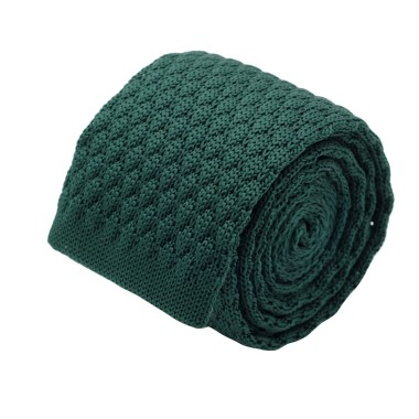 Cravate tricot homme. Vert bouteille grosse maille uni