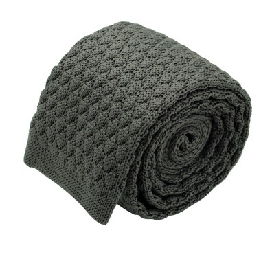 Cravate tricot homme. Gris anthracite grosse maille uni