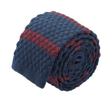 Cravate tricot homme. Bleu marine à rayures bordeaux. Grosse maille