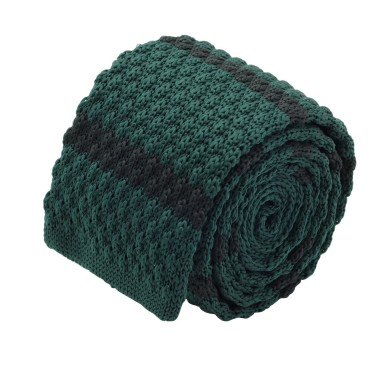 Cravate tricot homme. Vert à rayures marine. Grosse maille