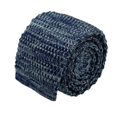 Cravate tricot homme chinée. Bleu marine