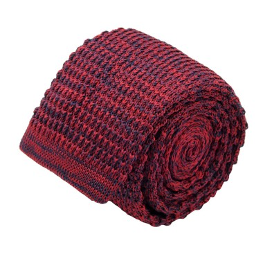 Cravate tricot homme chinée. Bordeaux