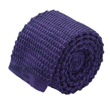 Cravate tricot homme chinée. Violet Prune