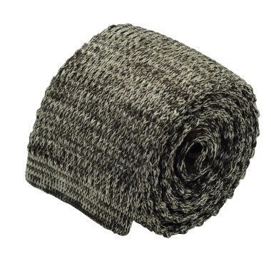 Cravate tricot homme chinée. Marron