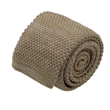 Cravate tricot homme chinée. Marron tabac