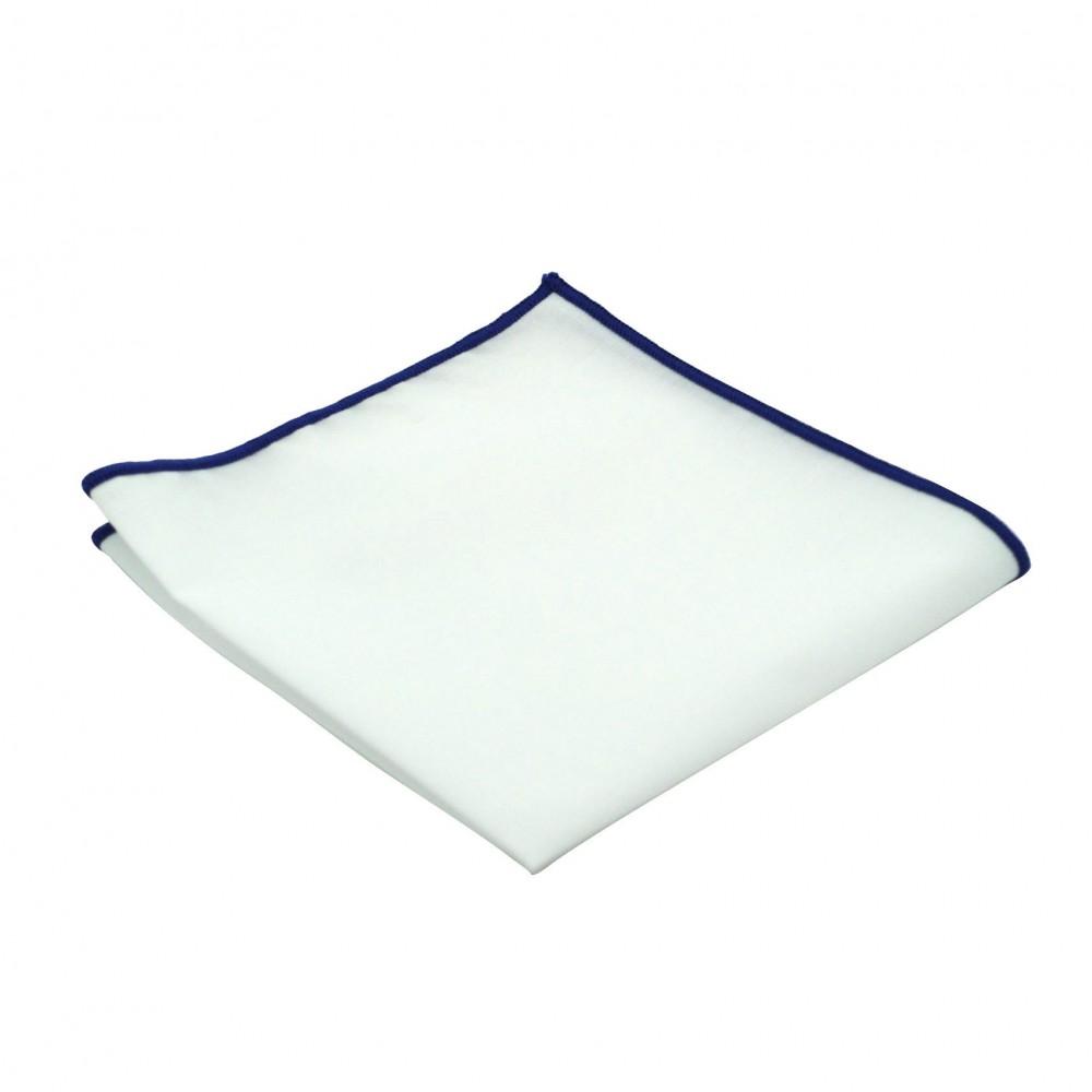 pochette de costume homme blanc liseret bleu roi 1683. Black Bedroom Furniture Sets. Home Design Ideas