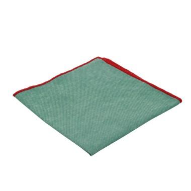 Pochette de costume homme. Vert à liseret rouge