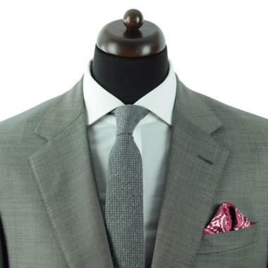 Pochette de costume homme. Bordeaux à pois et paisley