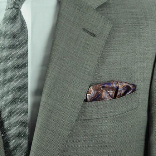 Pochette de costume homme. Bleu marine et Marron à grands Paisley