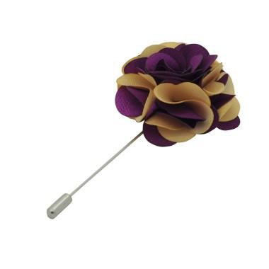 Broche Fleur bicolore Prune et Beige pour boutonnière de costume homme