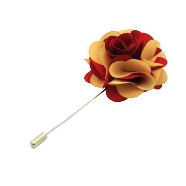 Broche Fleur bicolore Rouge et Beige pour boutonnière de costume homme